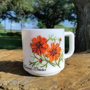 VTG October Cosmos flower milk glass mug